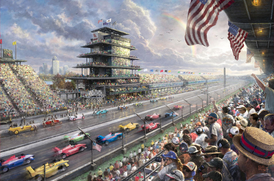 "This undated photo provided by The Thomas Kinkade Company via PR Newswire shows Thomas Kinkade's New Studio Masterwork, ""Indy Excitement, 100 Years of Racing at Indianapolis Motor Speedway."" Kinkade, whose brushwork paintings of idyllic landscapes, cottages and churches have been big sellers for dealers across the United States, died Friday, April 6, 2012, a family spokesman said. (AP Photo/PR Newswire, The Thomas Kinkade Company)"
