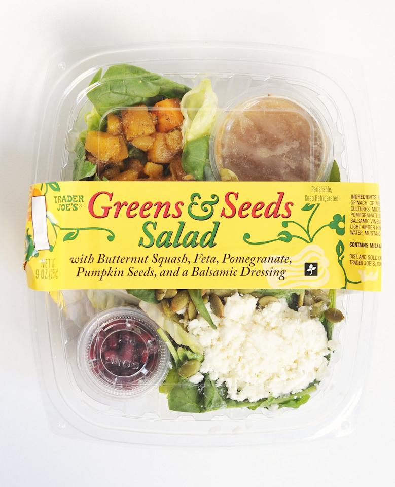 <p>With bold flavors and tons of protein, this greens and seeds salad is perfect for the vegetarian looking for lunch. Eat up!</p>