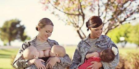 Military moms breastfeeding in uniform