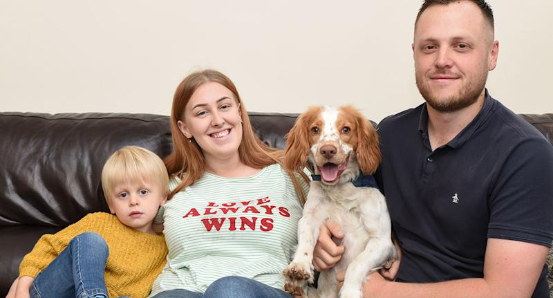 Owners Emma Clayton (left) and Oliver Broomhead (right) and their son, assure Pete's fans that he is a happy and healthy puppy who just happens to faint.