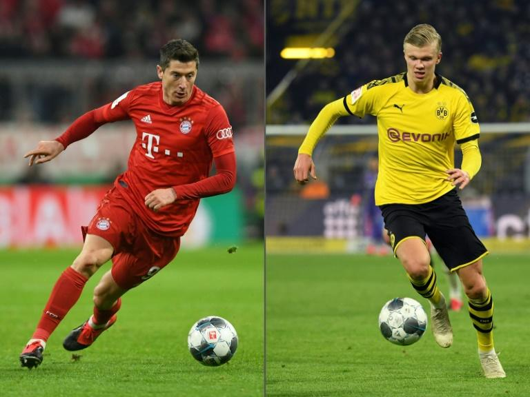 Lewandowski (L) and Haaland (R) will face each other for the first time on Tuesday
