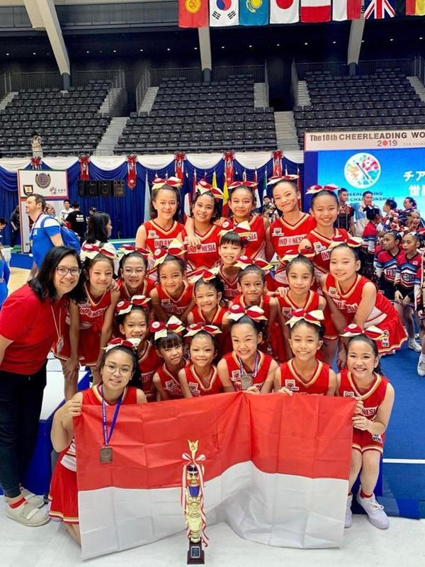Tim nasional Cheerleading Indonesia di Cheerleading World Championship 2019 di Takasaki, Jepan. (dok. Istimewa)
