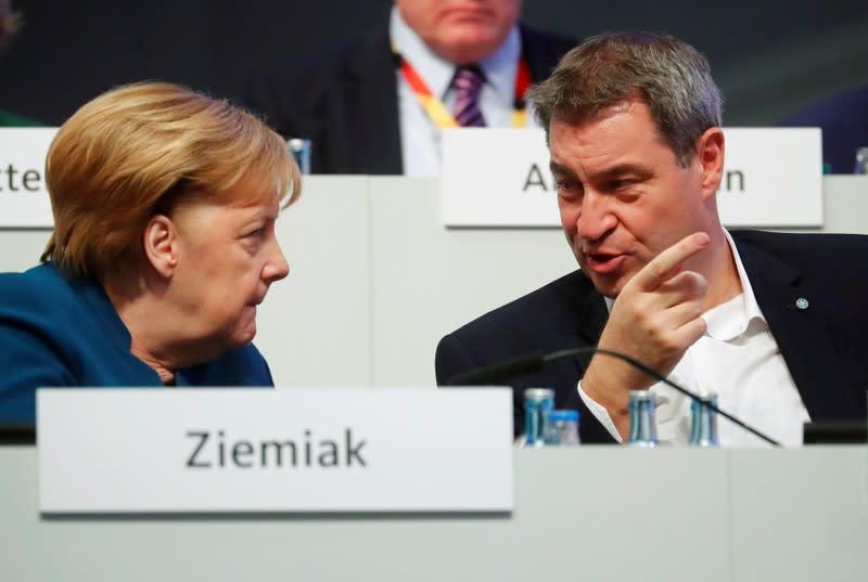 Bavarian boss's stirring speech reignites Merkel succession debate