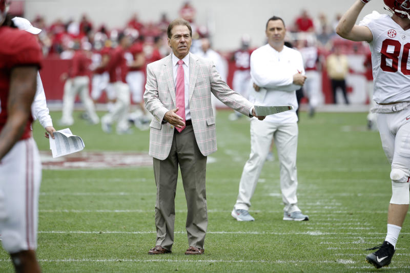 Alabama Crimson Tide head coach Nick Saban looks on during the team's spring game at Bryant-Denny Stadium on April 13, 2019. (Getty)