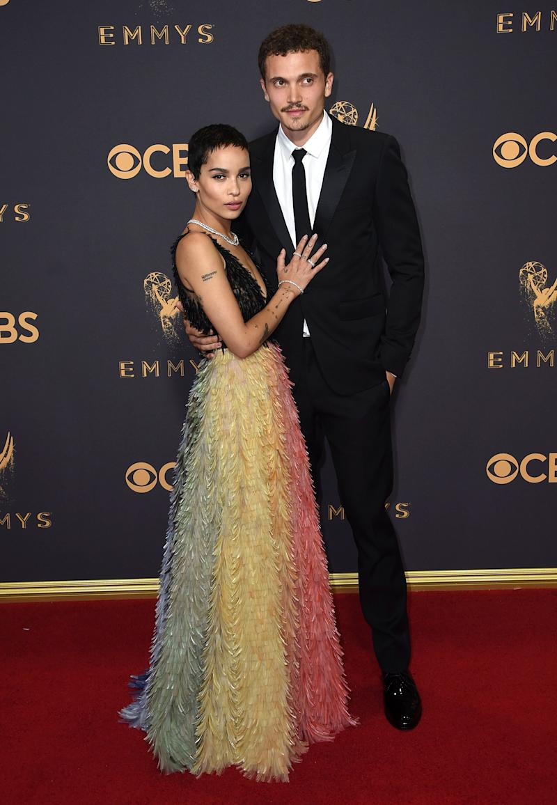 Zoe Kravitz, left, and Karl Glusman arrive at the 69th Primetime Emmy Awards on Sunday, Sept. 17, 2017, at the Microsoft Theater in Los Angeles. (Photo by Jordan Strauss/Invision/AP)