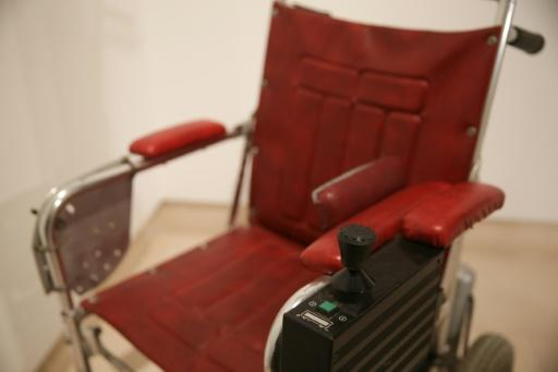 The scientist used this red leather wheelchair from the late 1980s to the mid-1990s, driving himself with the help of a joystick
