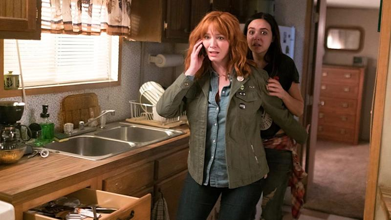 Screenshot of Christina Hendricks and Bailee Madison in The Strangers: Prey at Night