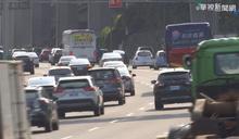 國5北返車潮湧現 交通量約平日1.6倍