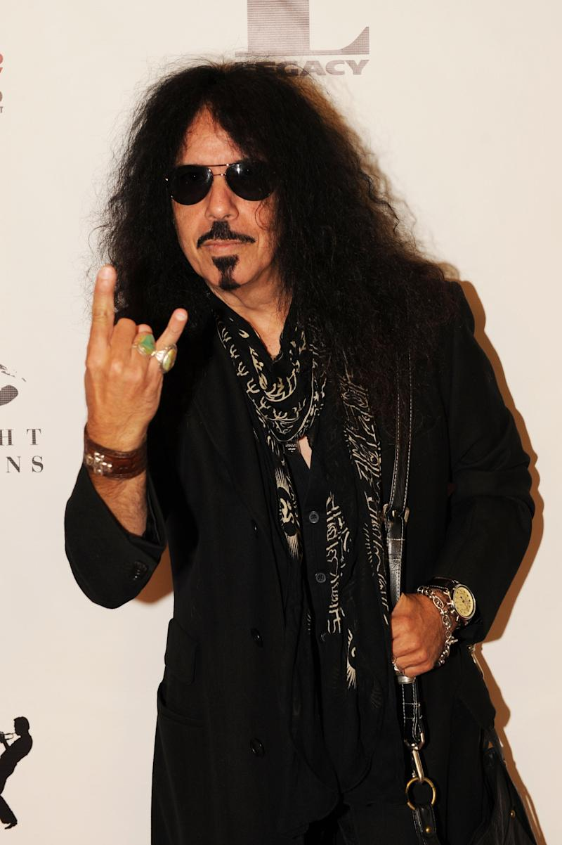 """LOS ANGELES, CA - NOVEMBER 07: Drummer Frankie Banali arrives at Mr. Musichead Gallery for the """"Miles Davis: The Collected Artwork"""" Launch Party on November 7, 2013 in Los Angeles, California. (Photo by Joshua Blanchard/Getty Images)"""