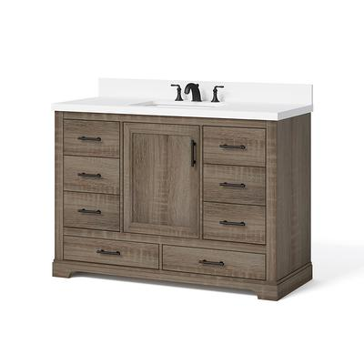 Glacier Bay Kendall 48 In W X 20 In D Bath Vanity In Distressed Oak With Engineered Stone Vanity Top In White With White Basin Yahoo Shopping