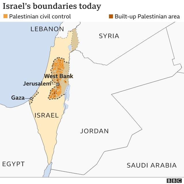 Peta perbatasan Israel hari ini