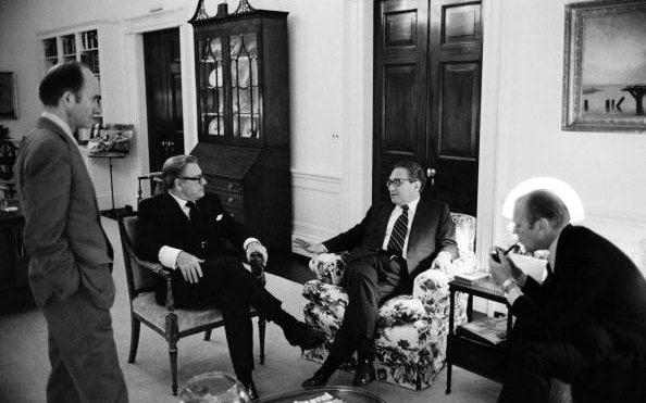 Scowcroft, left, at the White House in 1974 with Nelson Rockefeller, Henry Kissinger and President Ford - David Hume Kennerly/ Getty Images