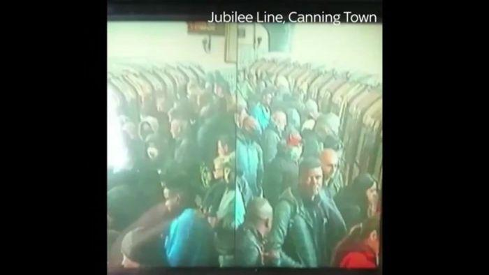 Footage shows London Underground trains packed with commuters