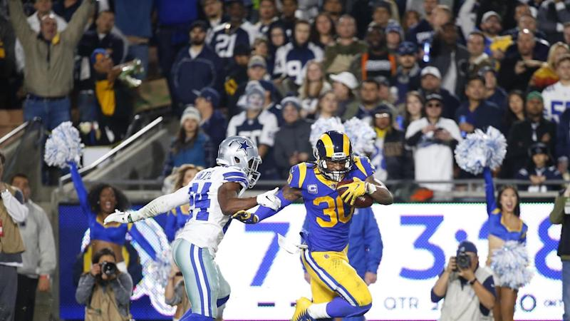 LA Rams running back Todd Gurley scores a touchdown against the Dallas Cowboys in the NFL playoffs