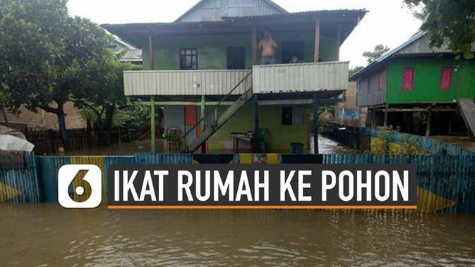 VIDEO: Warga Sulbar Ikat Rumah Ke Pohon Agar Tak Hanyut Banjir