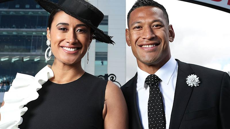Maria and Israel Folau at Victoria Derby Day in 2017. (Photo by Mark Metcalfe/Getty Images for the VRC)