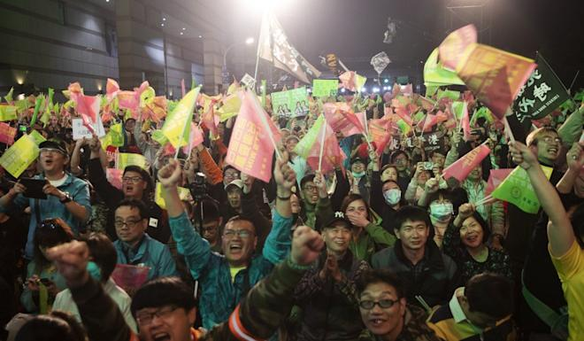 Tsai Ing-wen's supporters celebrate her election victory. Photo: EPA-EFE
