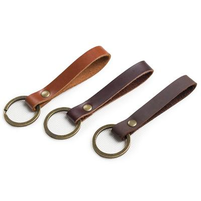 Three sizes to choose from. Handmade leather and motorbike chain keyring wrist strap