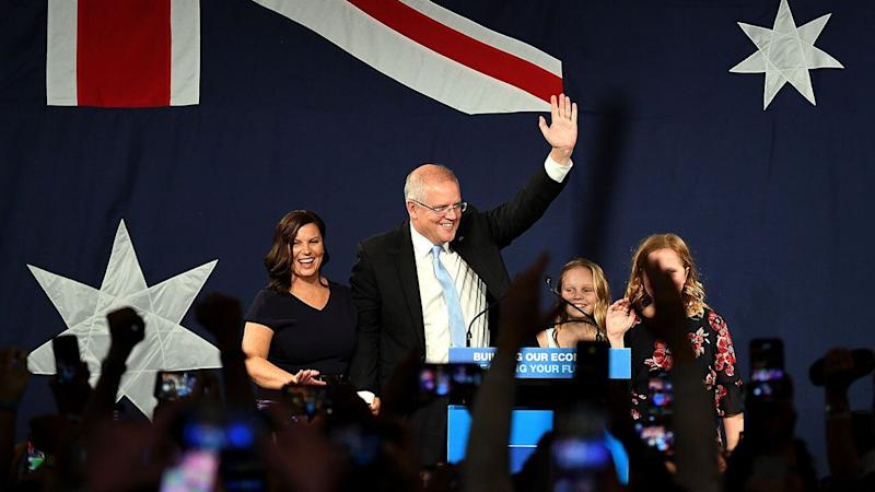 Australian Prime Minister Scott Morrison arrives with wife Jenny (left) children Abbey (second right) and Lily (right) after winning the 2019 Federal Election, at the Federal Liberal Reception at the Sofitel-Wentworth hotel in Sydney, Saturday, 18 May, 2019. Approximately 16.5 million Australians have today voted in what is tipped to be a tight election contest between Australian Prime Minister Scott Morrison and Australian Opposition leader Bill Shorten. (AAP Image/Dean Lewins) NO ARCHIVING