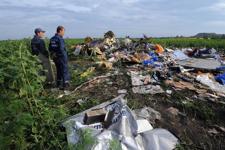 Employees of the Ukrainian State Emergency Service look at the wreckage of Malaysia Airlines flight MH17 after it crashed in a sunflower field near the village of Rassipnoe, in rebel-held east Ukraine, on July 19, 2014