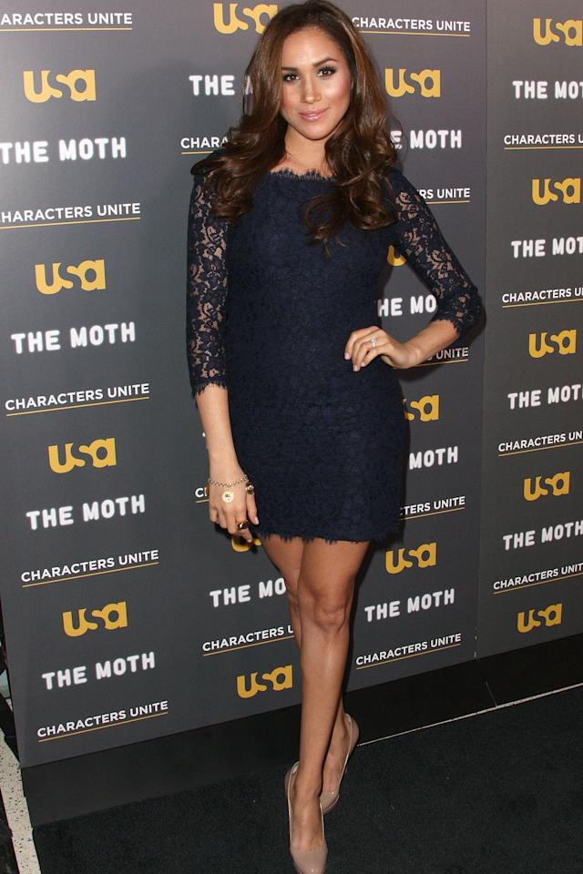 <p>Meghan attended the <em>A More Perfect Union: Stories of Prejudice and Power</em> event in L.A. wearing a three-quarter-sleeve lace dress with nude pumps.</p><p><br><br></p>