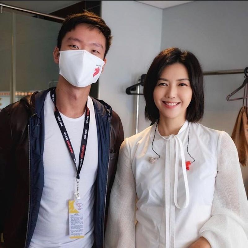 Benjamin Tan, creative producer of Singapore's National Day Parade 2020, and pop star Stefanie Sun, at a rehearsal. (Photo: Benjamin Tan/Instagram)