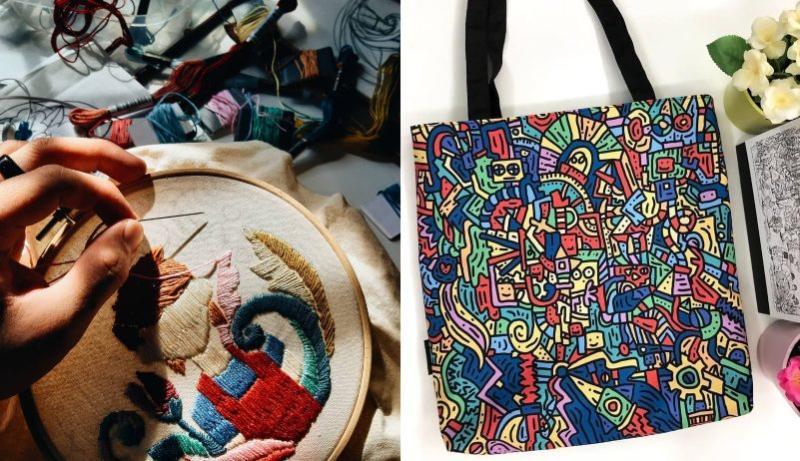 Amir creates embroidery and tote bag art. Photo: Amir Sabri / Instagram