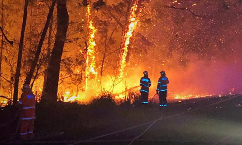 Firefighters working on the Currowan bushfire along the Princes Highway on Monday.