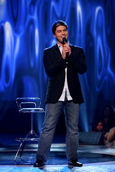 Jason Yeager performs as one of the top 24 contestants on the 7th season of American Idol.