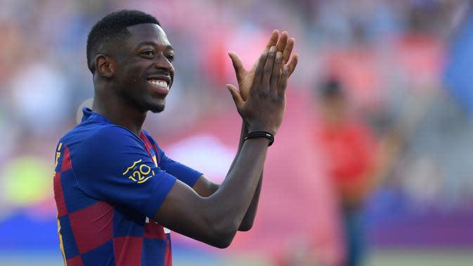 4. Ousmane Dembele - Manchester United dikabarkan tertarik untuk mendatangkan Ousmane Dembele dengan status pinjaman dari Barcelona. Namun, Barcelona hanya ingin melepas Dembele ke Manchester United dengan status transfer permanen. (AFP/Josep Lago)