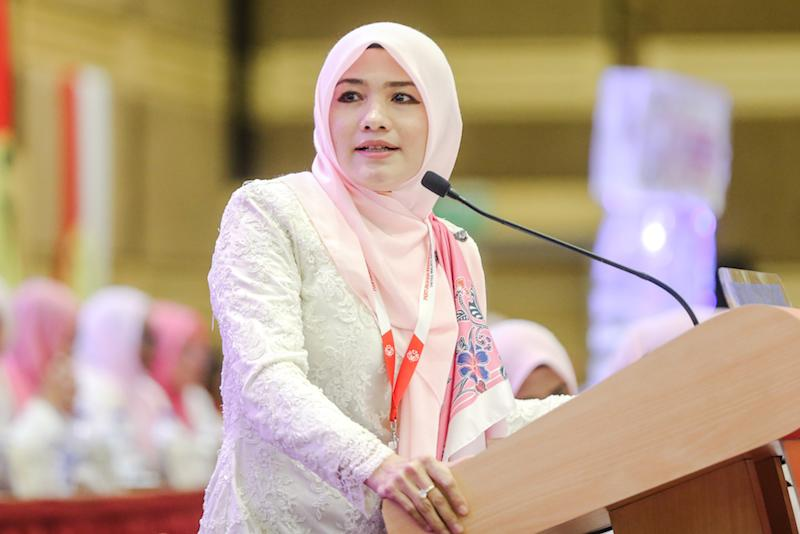 Puteri Umno chief Datuk Zahida Zarik Khan speaks during the 2019 Umno General Assembly at Putra World Trade Centre in Kuala Lumpur December 5, 2019. — Picture by Firdaus Latif