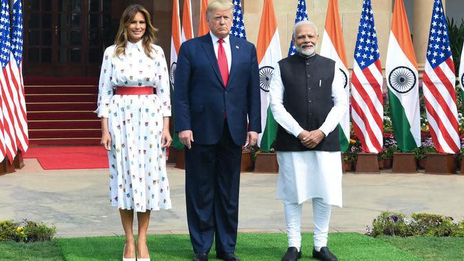 Melania Trump, Presiden Amerika Serikat Donald Trump, dan Perdana Menteri India Narendra Modi di Hyderabad House, New Delhi, India, Selasa (25/2/2020) (Prakash SINGH / AFP)