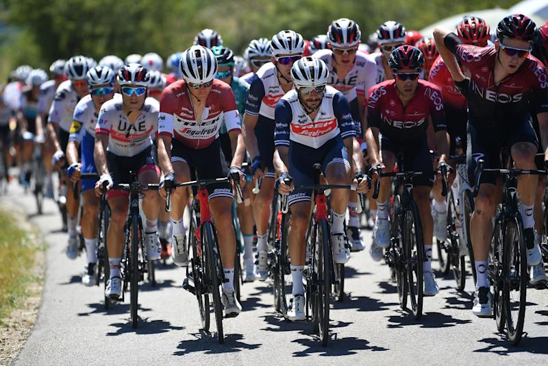 CEYZERIAT FRANCE AUGUST 07 Toms Skujins of Latvia and Team Trek Segafredo Bauke Mollema of The Netherlands and Team Trek Segafredo Julien Bernard of France and Team Trek Segafredo Peloton during the 32nd Tour de LAin 2020 Stage 1 a 140km stage from MontralLaCluse to Ceyzriat 304m tourdelain TOURDELAIN TDA on August 07 2020 in Ceyzeriat France Photo by Justin SetterfieldGetty Images