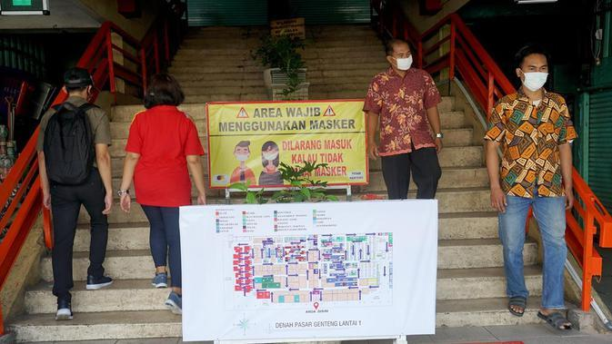 Potret Penerapan Protokol COVID-19 di Pasar Tambak Rejo, Surabaya. (Sumber: Twitter/BanggaSurabaya)