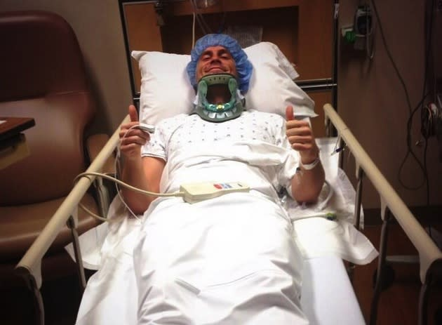 Seriously injured punter Kevin Huber hasn't lost his sense of humor in the hospital