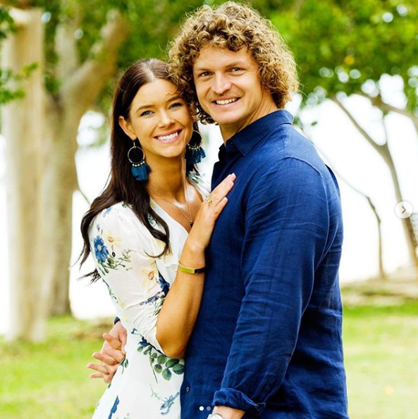 A photo of Brittany Hockley and Nick Cummins on The Bachelor Australia 2018.