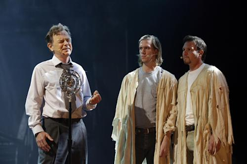 "This Tuesday, Oct. 8, 2013 photo shows Bruce Greenwood, left, as Joe McCandless, left, during a dress rehearsal of the musical ""Ghost Brothers of Darkland County"" at the Indiana University Auditorium in Bloomington, Ind. The musical by John Mellencamp, writer Stephen King and T Bone Burnett will debut in Bloomington on Thursday before embarking on a tour of 20 U.S. cities. (AP Photo/Michael Conroy)"
