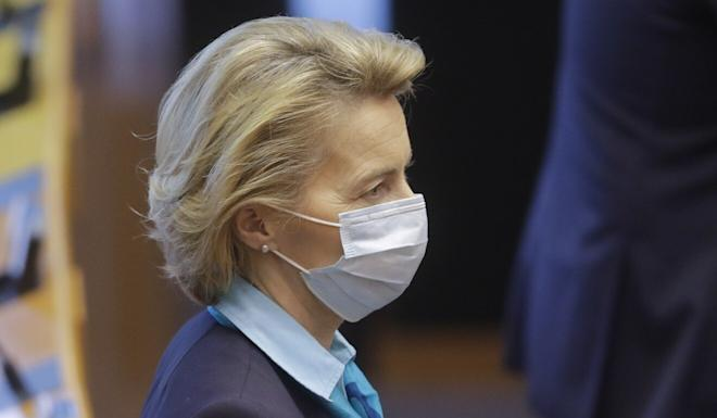 European Commission President Ursula von der Leyen, pictured during a plenary session of the European Parliament in Brussels on Wednesday, is scheduled to travel to China for talks next month. Photo: EPA-EFE