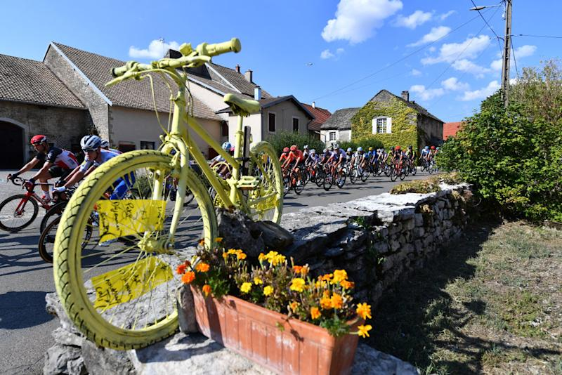 CHAMPAGNOLE FRANCE SEPTEMBER 18 Peloton Voiteur Village Yellow Bike Detail view during 107th Tour de France 2020 Stage 19 a 1665km stage from Bourg en Bresse to Champagnole 547m TDF2020 LeTour on September 18 2020 in Champagnole France Photo by Stuart FranklinGetty Images