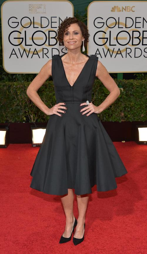 Minnie Driver arrives at the 71st annual Golden Globe Awards at the Beverly Hilton Hotel on Sunday, Jan. 12, 2014, in Beverly Hills, Calif. (Photo by John Shearer/Invision/AP)