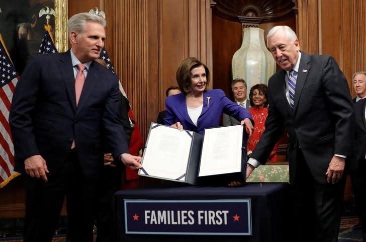 House Speaker Pelosi holds coronavirus aid bill signing ceremony at the U.S. Capitol in Washington
