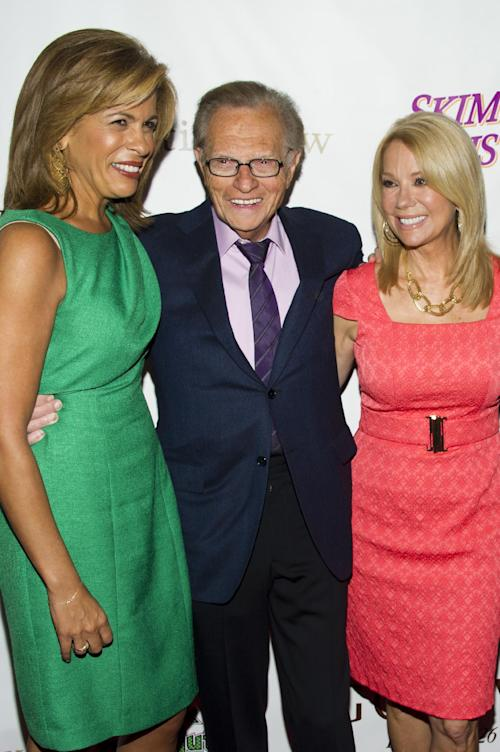 Hoda Kotb, left, Larry King and Kathie Lee Gifford attend the Friars Club Roast of Betty White in New York, Wednesday, May 16, 2012. (AP Photo/Charles Sykes)