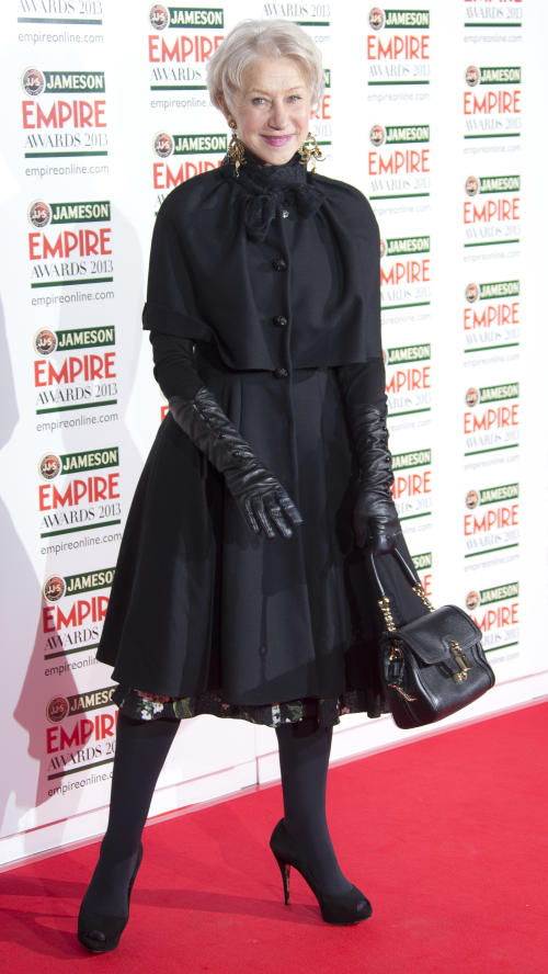 Dame Helen Mirren arrives for the Jameson Empire Awards at Grosvenor House in central London, Sunday, Mar. 24, 2013. (Photo by Joel Ryan/Invision/AP)