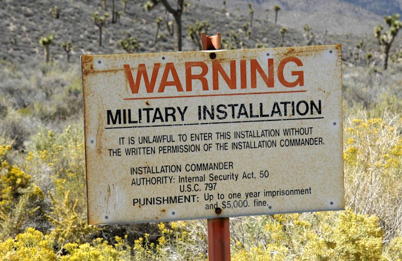 The photo shows a sign warning of a military installation at Area 51 near Las Vegas in the US.