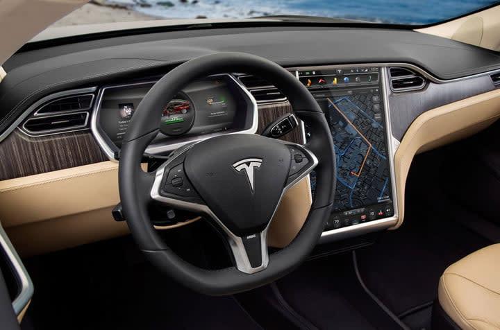 tesla model s ev interior touchscreen