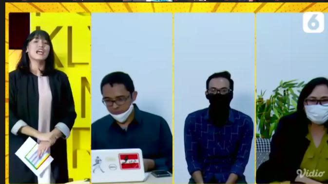 Wapemred Liputan6.com Elin Yunita (kanan), Redaktur Pelaksana Liputan6.com Harun Mahbub (dua dari kiri), dan Produser Liputan6.com Riki Dhanu (dua dari kanan) saat Pelatihan Jurnalistik dan Penelusuran Berita Hoaks pada Jumat, 24 Juli 2020.