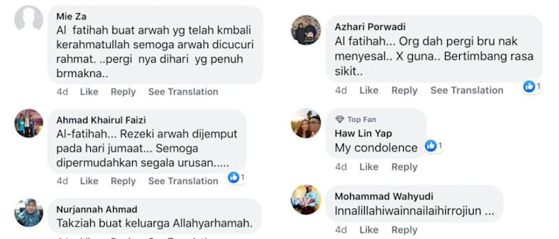 Social media users pray that Husnah is blessed with God's grace in the afterlife. ― Screengrab via Facebook/@DailyTrafficReports