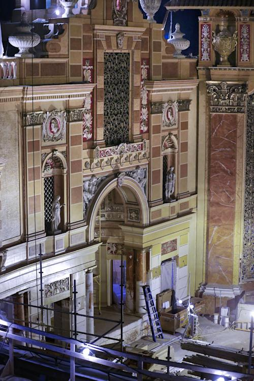 A recently restored wall is seen during the renovation of the Saenger Theater in Downtown New Orleans on Wednesday, May 22, 2013. (AP Photo/Gerald Herbert)