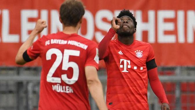 Selebrasi Pemain Munchen saat mencukur Frankfurt pada lanjutan Bundesliga, Sabtu (23/5/2020) (Dok Munchen)