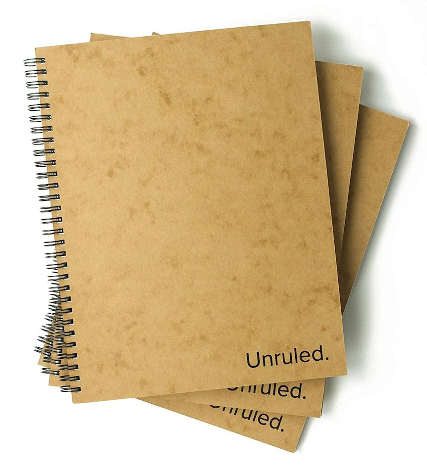"<p>Invented by college students, these <product href=""https://www.amazon.com/Unruled-Notebook-Pack-Environmentally-Sustainable/dp/B073DFKD4V/ref=sr_1_3?keywords=recycled+notebook&amp;qid=1562782991&amp;s=gateway&amp;sr=8-3"" target=""_blank"" class=""ga-track"" data-ga-category=""internal click"" data-ga-label=""https://www.amazon.com/Unruled-Notebook-Pack-Environmentally-Sustainable/dp/B073DFKD4V/ref=sr_1_3?keywords=recycled+notebook&amp;qid=1562782991&amp;s=gateway&amp;sr=8-3"" data-ga-action=""body text link"">Unruled Notebook</product> ($24 for 3) are made from 100 percent recycled paper. </p> <p><del></del></p>"
